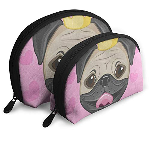 Makeup Bag Princess Pug Dog Love Heart Pink Portable Shell Makeup Case For Women Halloween Gift Pack - -