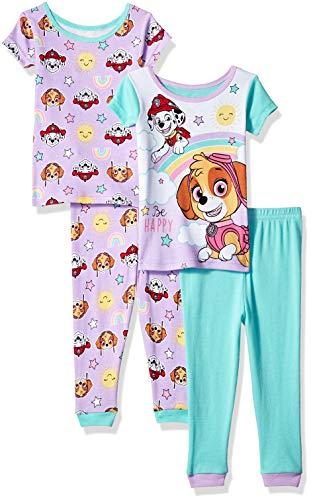 Nickelodeon Girls' Toddler Paw Patrol 4-Piece Cotton Pajama Set, Puppy Purple, 2T -
