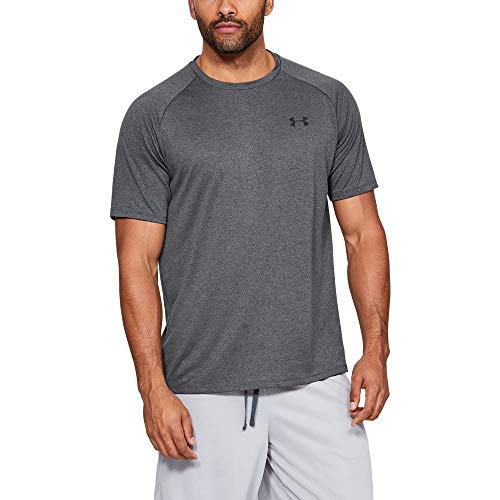 Under Armour mens Tech 2.0 Short Sleeve T-Shirt, Carbon Heather (090)/Black, Medium