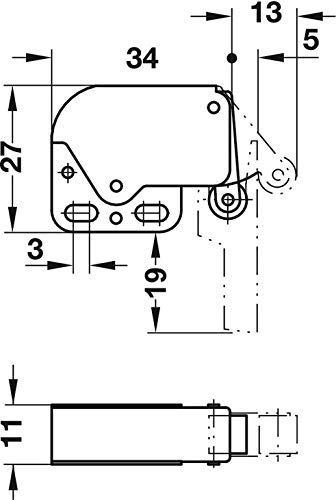 1 x Mini Touch Catch Verriegelung Schr/änke Wohnwagen Wohnmobil Schrankt/üren Top Qualit/ät