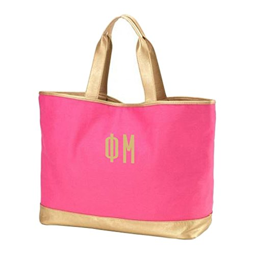 Greekgear Phi Mu Cabana Large Tote Bag Hot Pink