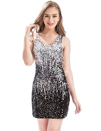 Evening Club Mini Dress Cocktail (MANER Women's Sexy V Neck Sequin Glitter Bodycon Stretchy Sexy Mini Party Dress (XXL, Silver/GrayBlack))