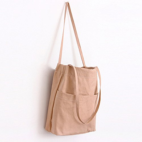 Square Lumanuby Canvas Casual Khaki Lady Khaki Shoulder Tote Shopping Bag Handbag Large n77WIxqO