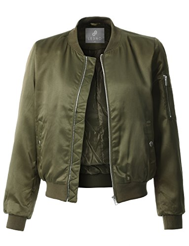 LE3NO Womens Lightweight Classic Satin Zip Up Bomber Jacket with Pockets