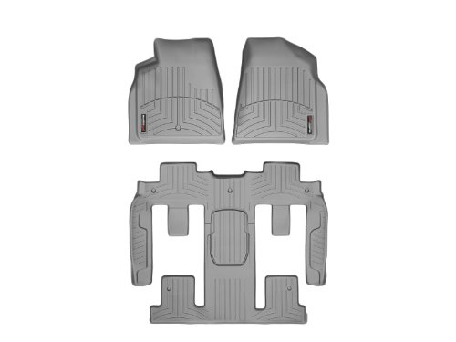 WeatherTech Custom Fit FloorLiner-Buick Enclave-2011-2016-Complete Set (1st, 2nd, & 3rd Row) with 2nd Row Bucket Seating-Grey ()