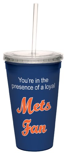 Mets Plastic Tumblers - Tree-Free Greetings cc34094 Mets Baseball Fan Artful Traveler Double-Walled Cool Cup with Reusable Straw, 16-Ounce