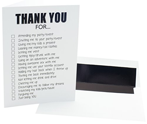 Black Lined Envelope - Funny Adult Thank You Cards - 20 Pack of