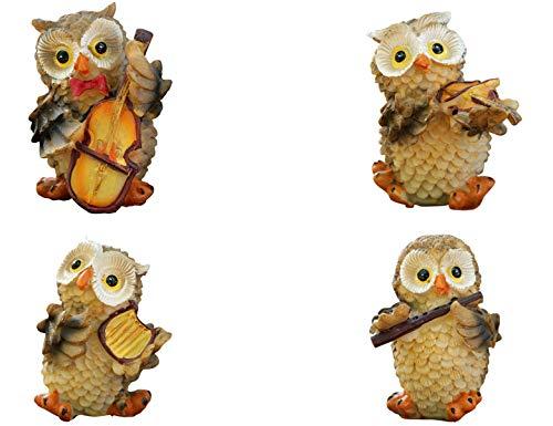 Rmdusk Small Resin Owl Music Band Figurine, Owl Musician Ornament, Indoor Outdoor Statue for Home Garden Fairy Dollhouse, Desktop Decoration (Set of 4)