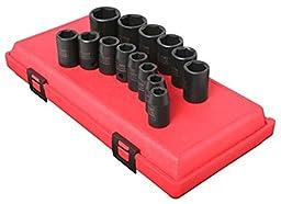 Sunex 2652 14 Piece 1/2-Inch Drive Standard Metric 6 Point Impact Socket Set