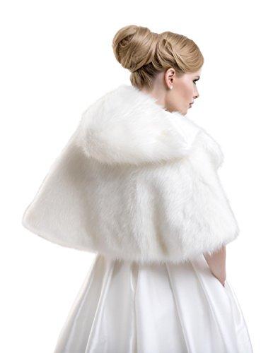 Sintetica Giacca Ffj Con Coprispalle Bianco Cappuccio Bell Lacey Donna 80 Matrimonio Mantella Pelliccia Volpe E44THq