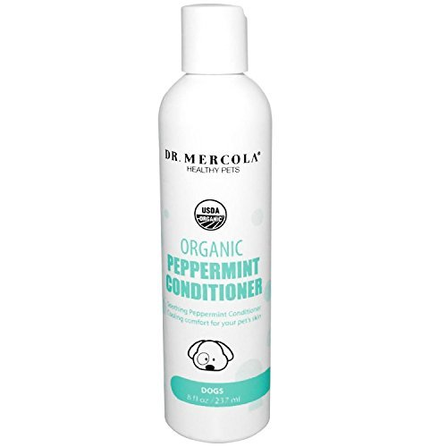 Dr Mercola Organic Peppermint Conditioner For Dogs - 1 Bottle (8 oz) - Promotes Detangling - Ideal For Long Hair/Double Coats - Premium Natural Pet Care Products