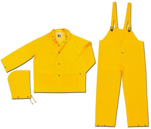 MCR Safety 2003M Classic PVC/Polyester 3-Piece Rainsuit with Attached Hood, Yellow, Medium