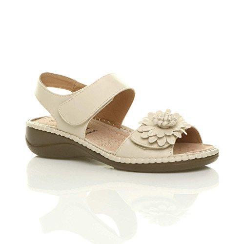 9c0baef3da8b01 Semelle Femmes Chaussures Dames Compensé Confortable Bas Fleur Sandales  Talon CrochetBoucle Sangle En Cuir Slingback Ajvani ...