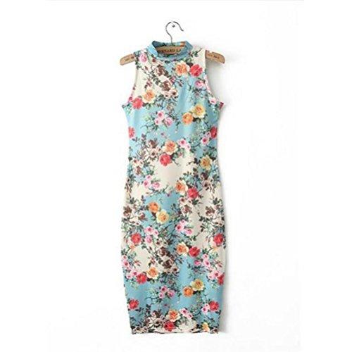 Kleid Transer® Damen Cheongsam Packung Hüfte Hauteng Midi Drucken Sundress Polyester Gr. 36-42