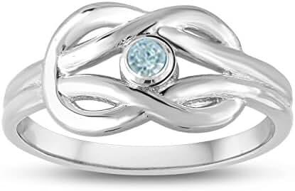 March Birthstone (Swarovski) Double Love Knot Ring
