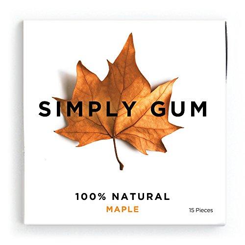 Simply Gum Maple Natural Chewing Gum - Non GMO, Vegan, 6 Packs (90 Pieces)