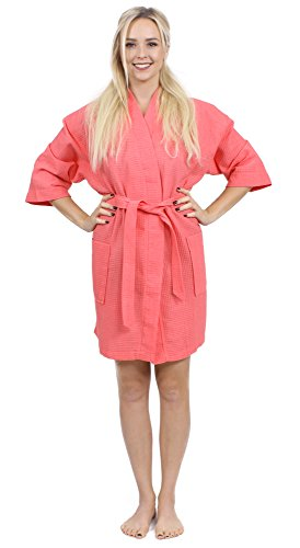 Turkuoise Women's Turkish Cotton Knee Length Lightweight Bridesmaids Waffle Kimono Robe Coral S/M