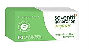 Seventh Generation Organic Tampons, With Applicator - Super - 16 ct