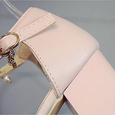 LvYuan Mujer Sandalias PU Verano Pedrería Perla de Imitación Hebilla Tacón Robusto Beige Rosa 7'5 - 9'5 cms beige