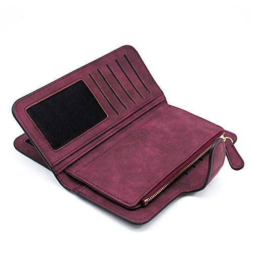 Leather Wallets For Women, With Zip, Long Wallet, Card Holder For Women, Wallet For Women, Money Bag, Carteira Feminina,Wine Red Long