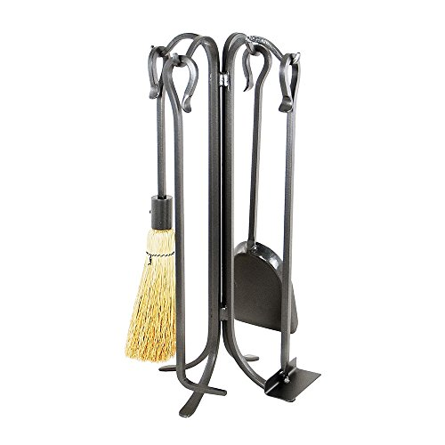 Minuteman International Shepherd's Hook IV, 5-Piece Fireplace Stove Tool Set