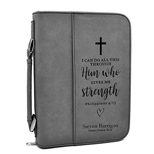 (Custom Bible Cover | I Can Do All This Through Him |Personalized Bible Cover (Gray))