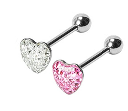- PIERCE ME 2pcs Dome Clear Heart Gem Barbell Tongue Ring 14G