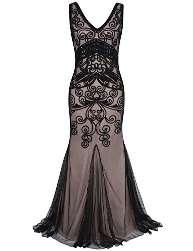 Evening Cocktail Gown Long Dress (PrettyGuide Women 1920s Ball Gown Long Cocktail Formal Evening Dress S Black Beige)