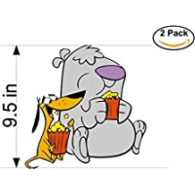 2 Stupid dogs 2 Stickers Huge 9.5 inches Cartoon Car Bumper Window Sticker Decal