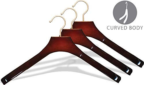 Deluxe Contoured Wooden Coat Hanger, Cherry Finish with 2 Inch Wide Shoulders and Brushed Chrome Hook (Box of 24) by The Great American Hanger Company by The Great American Hanger Company (Image #1)