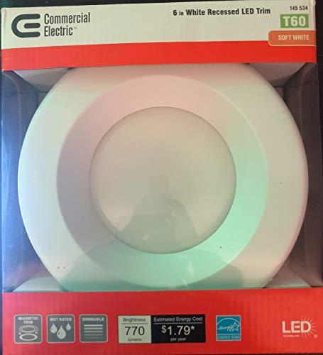 Commercial Electric 6 in. White Integrated LED Recessed Trim with Changeable Trim Ring by Commercial Electric
