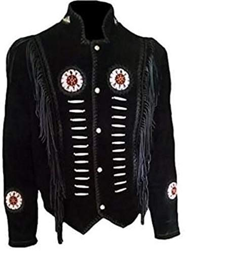 Native American Mens Western Cowboy Real Suede Leather Jackets 37 2XL - 48 Rawhide Inch
