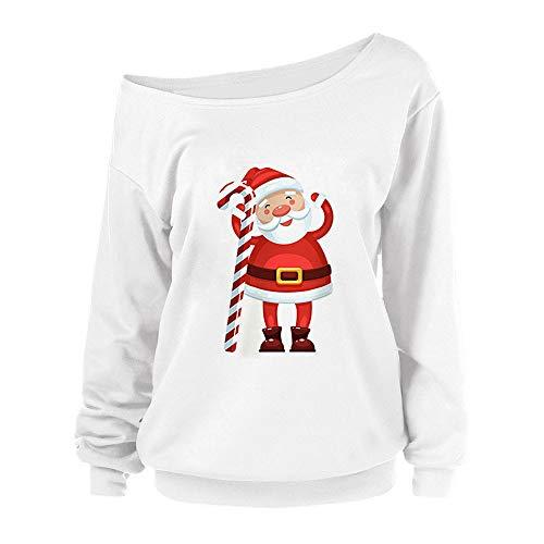 Christmas Women Sweatshirt Duseedik Santa Candy Cane Print Pullover Santa Long Sleeve Tops Blouse T Shirt