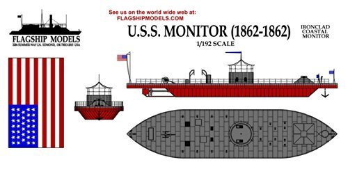 Flagship Models Inc. 1/192 Scale USS Monitor; Civil War Ironclad (10.5 inches Long) (Merrimack Model)