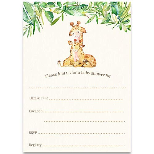 Fill in The Blank Invitations, Giraffe Baby Shower, Fill in The Blank Baby Shower Invitations, Mommy and Me, Safari Baby Shower, Gender Neutral, 24 Pack of Invites with White Envelopes