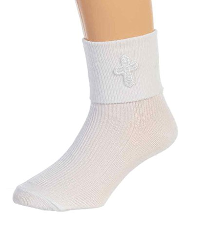 Girls White First Communion Sock with Cross by Tip Top (Religious Accessories)