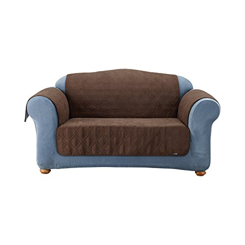 Quilted Suede Loveseat Slipcover (Sure Fit Quilted Pet Throw  - Loveseat Slipcover  - Chocolate)