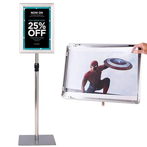 (GOFLAME A3 Pedestal Poster Stand Adjustable Aluminum Holder Poster Stand for Display Heavy Square Steel Base Snap-in Frame Sign Holder with Telescoping Post (Silver, 8
