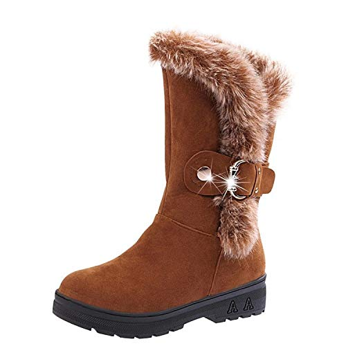Buckle Boots Women Fur Lined Mid Calf Flat Slip on Winter Shoies (Color : Yellow, Size : UK 6.5)