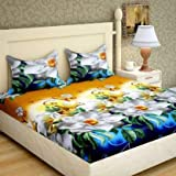 Panipat Textile Hub 3D Printed Double Bedsheet with 2 Pillow Covers