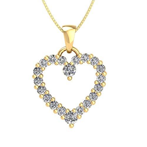 10k Yellow Gold Heart Diamond Pendant Necklace (1/2 Carat) - IGI (Yellow Diamond Heart)