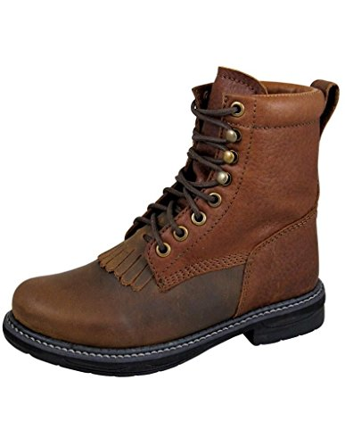 Smoky Mountain Boys' Panther Lace-Up Leather Boot Round Toe Brown 2.5 D(M) US Packer Western Lacer Boots