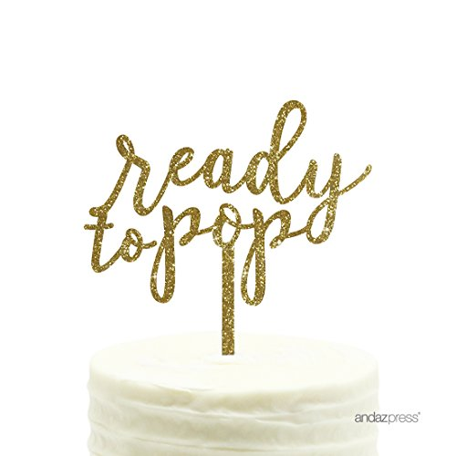 (Andaz Press Baby Shower Acrylic Cake Toppers, Gold Glitter, Ready to Pop, 1-Pack, Gender Reveal Decor)