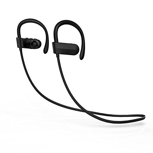 Bluetooth Headset, Sweatproof Sports Wireless Headphones In-Ear Headphone with microphone (7 Hours Play Time) (Black)