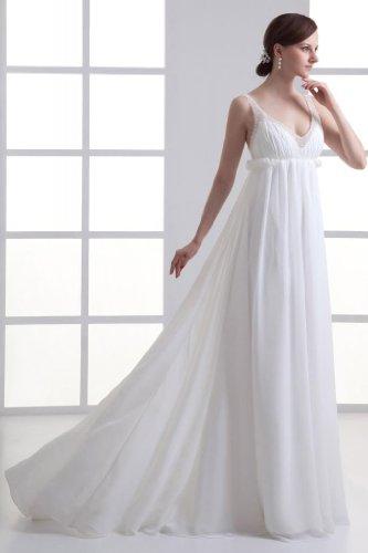 im Sommer Empire sexy Freien Chiffon V Brautkleid Weiß BRIDE GEORGE Ausschnitt nx0YIqwf5R