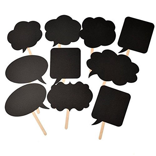 Pixnor Blackboards Booth Signs Speech Bubbles Wedding Birthday Party Photo Booth Props, 10pcs