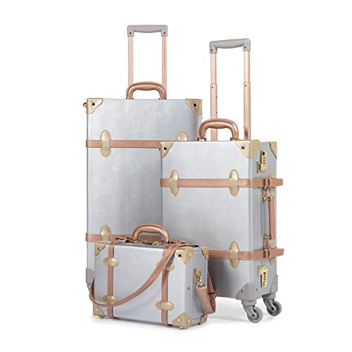 COTRUNKAGE 3 Piece Vintage Spinner Luggage Set for Women (13