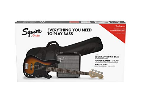 (Squier by Fender Affinity Series Precision Bass PJ Beginner Pack, Laurel Fingerboard, Brown Sunburst, with Gig Bag, Rumble 15 Amp, Strap, Cable, and Fender Play)