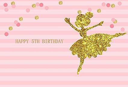 Laeacco Happy 5th Birthday Photography Background 5x3ft Striped Pink Background Glitter Gold Dancing Princess Girls Newborn Baby Kids Children Adult