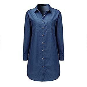 TWGONE Tunic Shirts for Women to Wear with Leggings Long Sleeve Vintage Blue Denim Tops Blouse